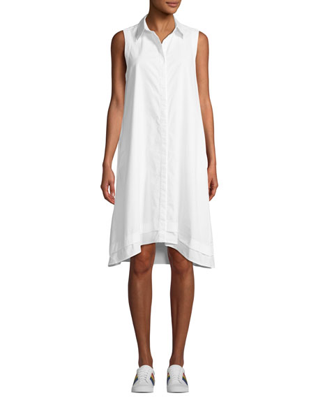 AG Clover Button-Front Sleeveless Shirtdress in True White