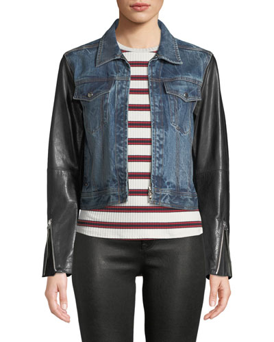 Nico Zip-Front Denim Jacket with Leather Sleeves