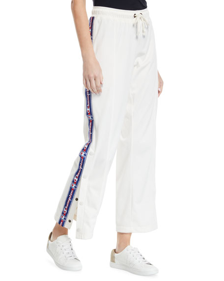Straight-Leg Logo Track Pants with Snap Cuffs