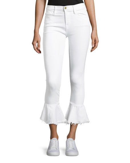 Le Skinny de Jeanne Flounce Ankle Jeans with  Raw-Edge Hem