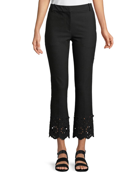 Derek Lam 10 Crosby Cropped Flare Stretch-Cotton Trousers