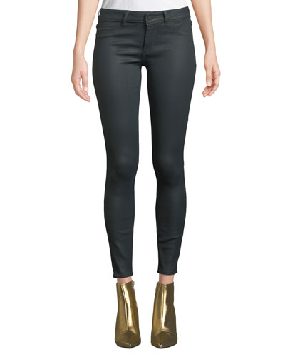 Emma Low-Rise Coated Skinny Jeans