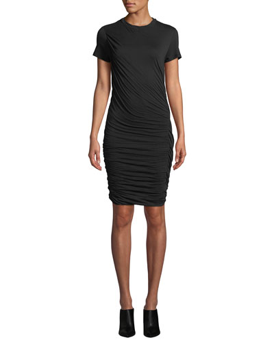 Twisted Draped Crewneck Tee Dress