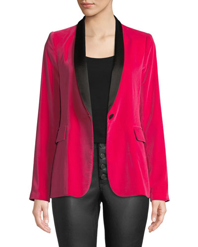 Macey Fitted Strong-Shoulder Tuxedo Blazer