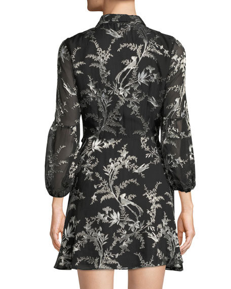 Gaston Blouson-Sleeve Wrap Dress