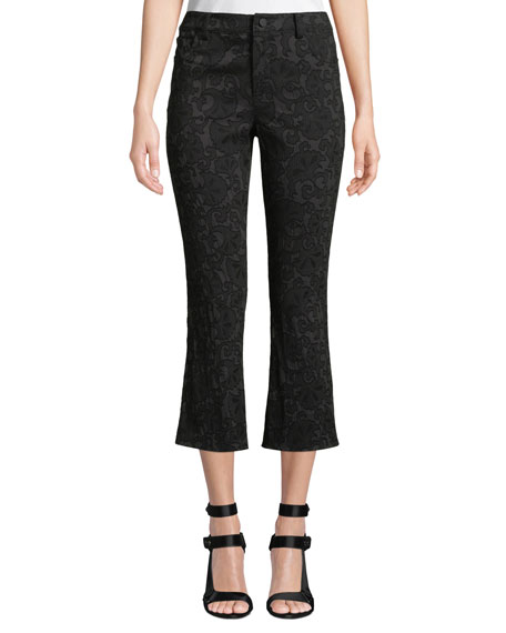 Alice + Olivia Drew Lace Cropped Bell Pants