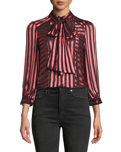 5a71cccf7ddd4 Willis Tie-Neck Button-Down Top Quick Look. Alice + Olivia