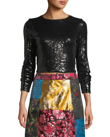 88f9a31903a3 Alice + Olivia Delaina Long-Sleeve Sequined Top