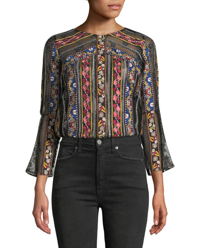 Larue Embroidered Slit-Sleeve Top