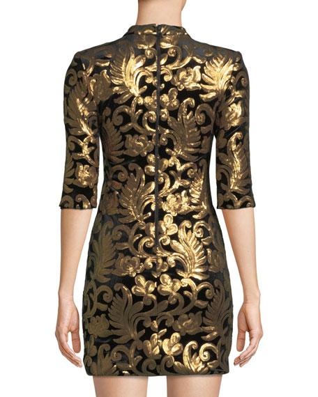 b5e6828640 Alice + Olivia Inka Strong-Shoulder Mock-Neck Dress