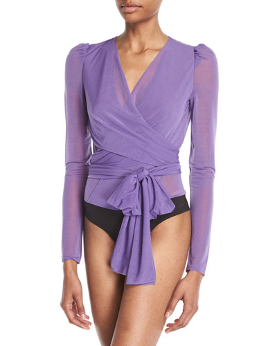 Long-Sleeve Sheer Drape Jersey Wrap Bodysuit