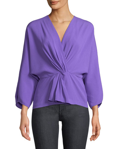 Crepe Twist-Front Long-Sleeve Wrap Top