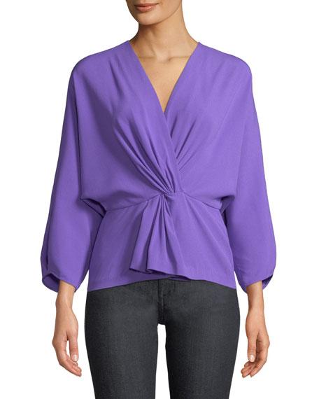 Diane von Furstenberg Crepe Twist-Front Long-Sleeve Wrap Top