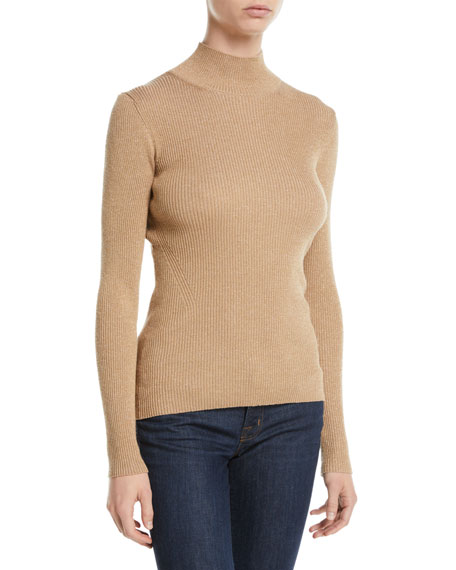 Diane von Furstenberg Tess Metallic Ribbed-Knit Turtleneck