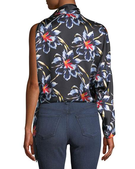 edc897471bc3b5 Diane von Furstenberg One-Shoulder Silk Floral Knotted Blouse
