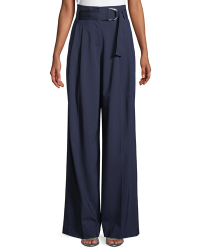 Wide-Leg Belted Wool Pants