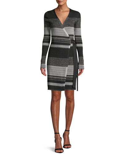 Long-Sleeve Metallic Striped Wrap Dress