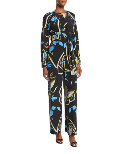 Long-Sleeve Floral Silk Tie-Waist Jumpsuit