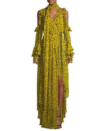 Ruffle Long-Sleeve Printed High-Low Maxi Dress