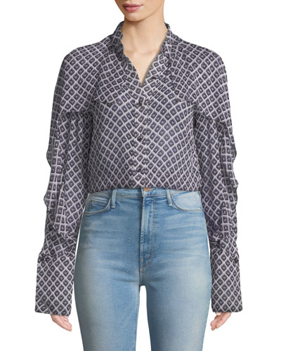 Printed Chiffon Cape Button-Front Shirt