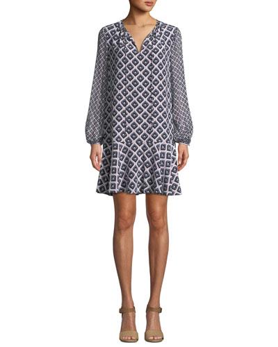 Printed Blouson-Sleeve Keyhole Flounce Dress