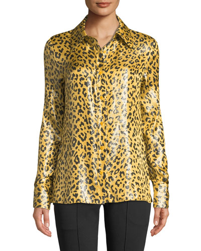 Leopard-Print Metallic Button-Front Shirt