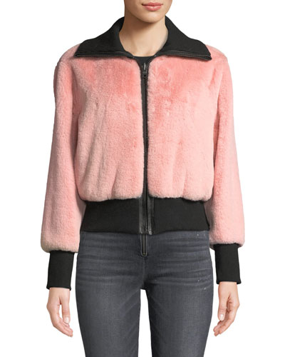 Genova Reversible Faux-Fur Bomber Jacket