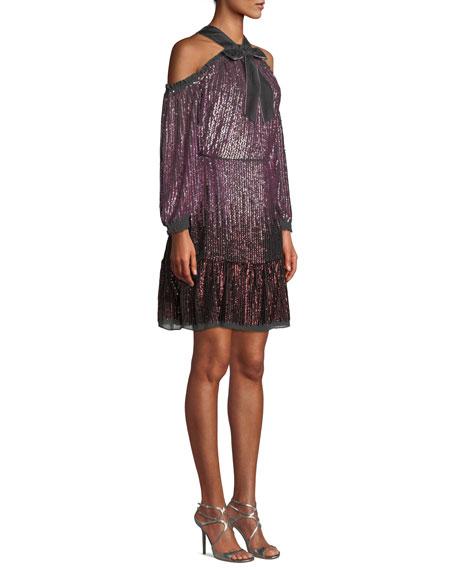 Kaleidoscope Sequin Cold-Shoulder Short Dress