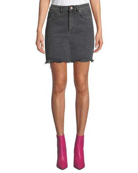 Georgia Studded Frayed Denim Skirt