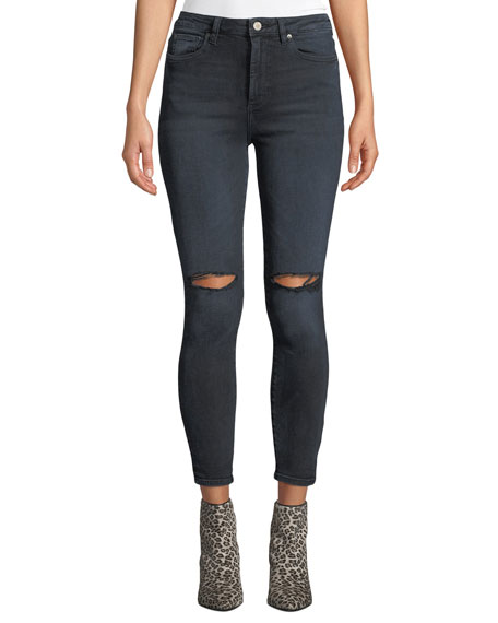 Chrissy Ultra High-Rise Distressed Skinny Jeans