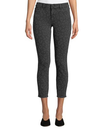 Florence Cropped Animal-Print Skinny Jeans