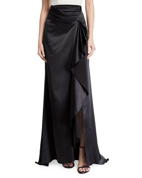 Alexis Brill Long Draped-Front Satin Skirt