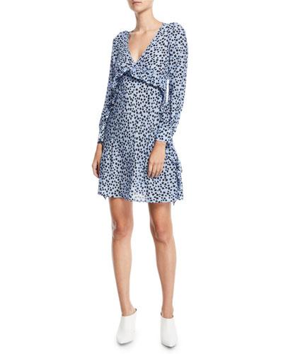Star-Print Ruffle Silk Short Dress