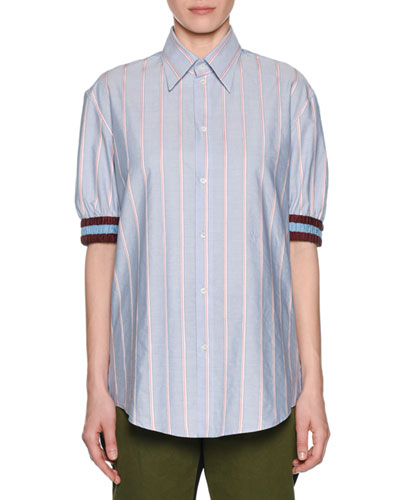 Striped Point-Collar Button-Front Shirt