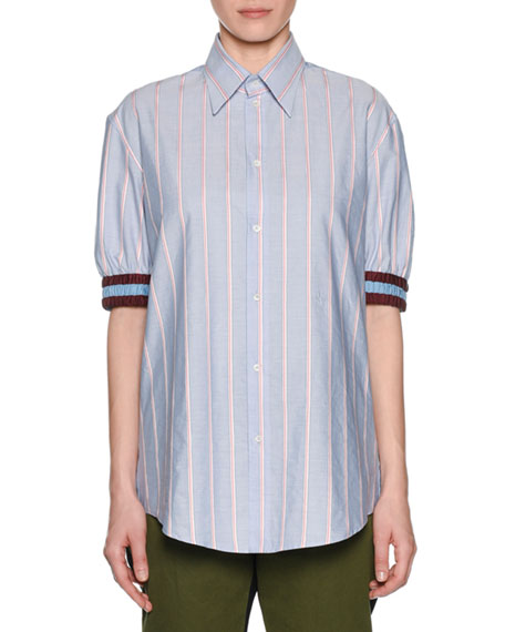 No. 21 Striped Point-Collar Button-Front Shirt