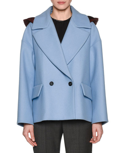 Oversized Double-Breasted Hooded Jacket