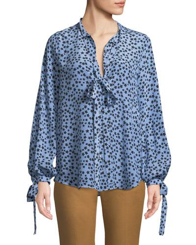 Star-Print Tie-Neck Silk Button-Front Shirt