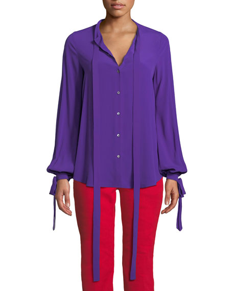 Violet Tie-Neck Button-Front Blouse