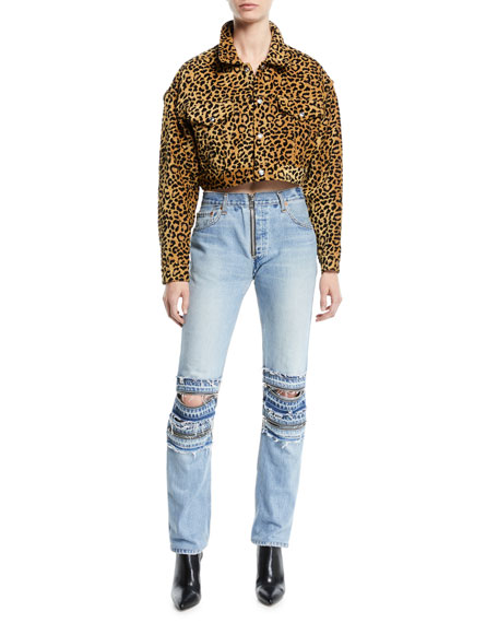 70aa3d2c3934 RE/DONE Leopard-Print Cropped Jacket
