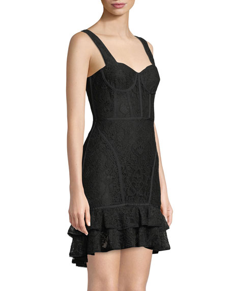 Lace Ruffle-Hem Bustier Dress