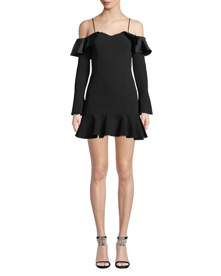 Jonathan Simkhai Crepe Sateen Cold-Shoulder Flounce Short Dress
