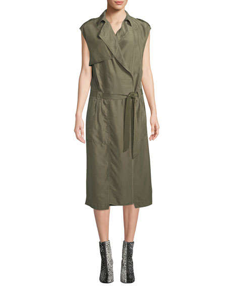 Bailee Sleeveless Trench Midi Dress in Olive