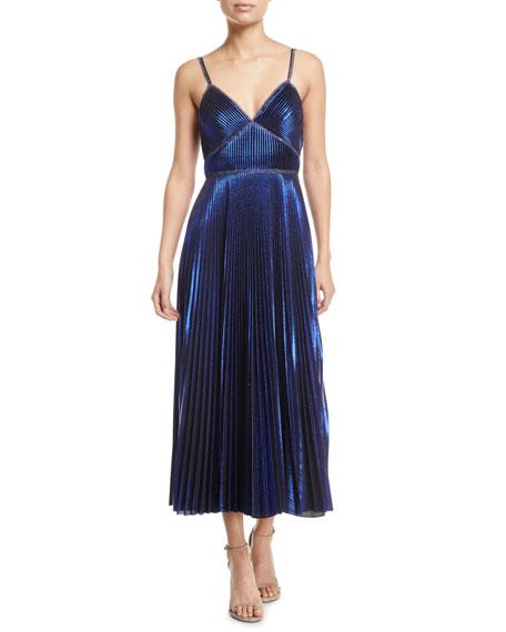 Marchesa Notte Pleated Sleeveless Tea-Length Dress