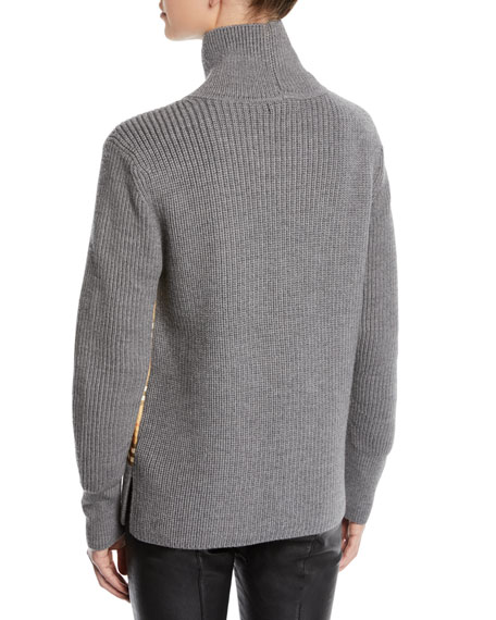 Archive Scarf-Panel Wool Turtleneck Sweater