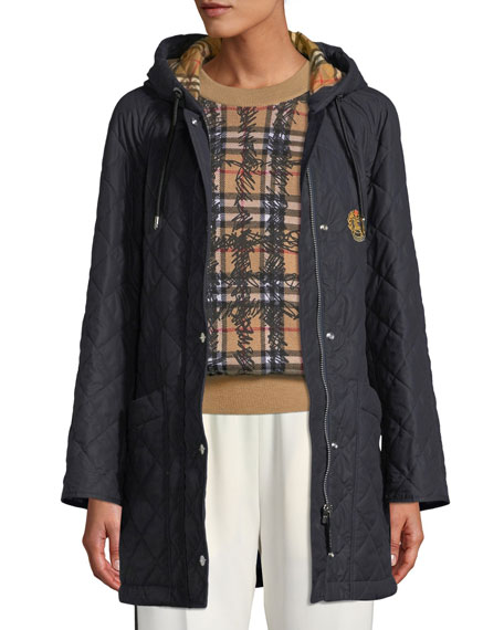 Burberry Roxwell Diamond-Quilted Hooded Parka Jacket a36fdd600b8