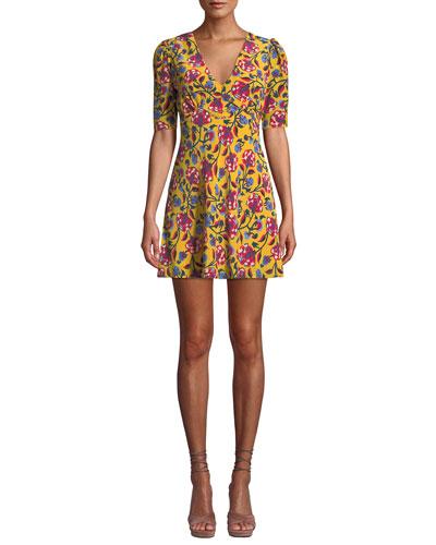 Corinne Floral-Print Silk Mini Dress