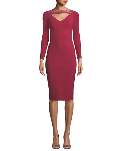 Cayetana V-Neck Cutout & Embellished Dress