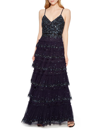 Miranda Tiered Sequin Tulle Formal Gown Dress