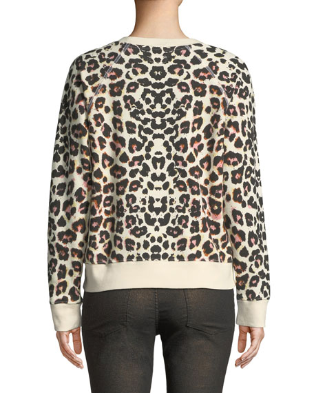 61076554175f MOTHER The Square Leopard-Print Crewneck Pullover Top