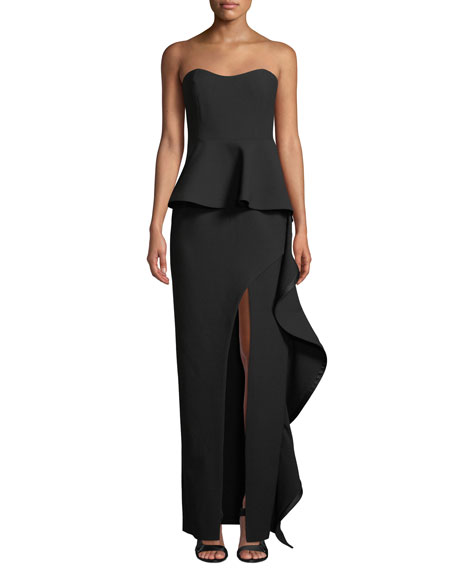 Claire Strapless High-Slit Peplum Gown W/ Ruffle Trim in Black